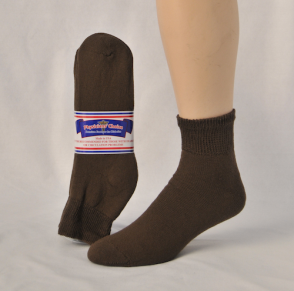 DIABETIC SOCKS 13-15 QUARTER BROWN