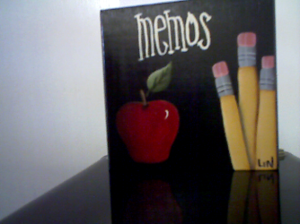 APPLE NOTEPAD W/ PENCIL HAND PAINTED