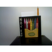CRAYON MEMO NOTEPAD W/PENCIL HAND PAINTED
