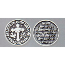 GRADUATION POCKET TOKEN PEWTER
