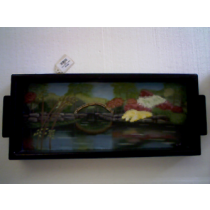 GARDEN SCENE WITH BRIDGE HAND PAINTED