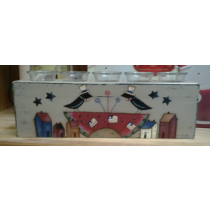 AMERICANA VOTIVE HOLDER [5 HOLES] HAND PAINTED