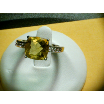 GOLDEN FLOURITE TOPAZ RING SZ 7